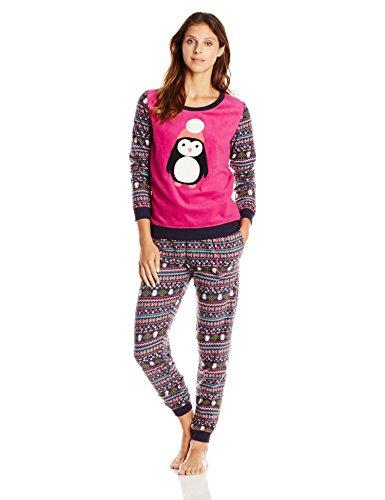 Layla Women's Layla Microfleece Pajama Set, Multi, Medium