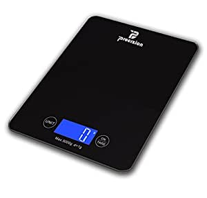 Procizion Digital Touch Multifunction Kitchen Food Scale for Precise Weighing in Grams, Ounces, Pounds, Fluid Ounces, Milliliters Measures up to 11 Lbs Best Gift for Weight Watchers and Diet Conscious Compact Gadget Large Backlit LCD Durable Tempered Glass (Black)