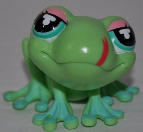 Frog #1214 (Green, Blue Eyes, Aqua Toes, Pink Eyelashes, Pink Spots, Painted Tongue) Littlest Pet Shop (Retired) Collector Toy - LPS Collectible Replacement Single Figure - Loose (OOP Out of Package & Print) - 1