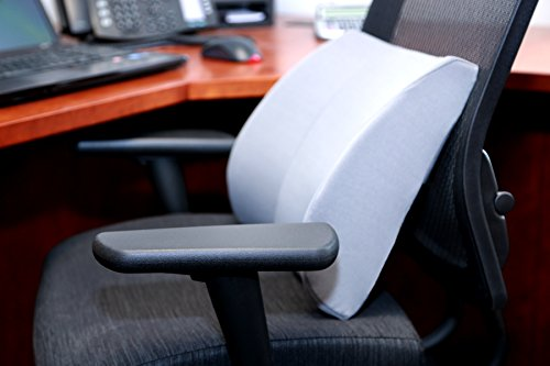 Duro-Med Relax-A-Bac, Lumbar Cushion, Lower Back Support Pillow With Wooden Lumbar Support Board and Alignment Strap, Grey (Lumbar Support Car compare prices)