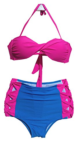 Welity Women Push Up Bandeau High Waisted 2 Pieces Halter Bikini Beach Swimsuit