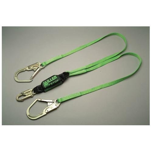 Miller 6' Green Two Leg Hp Lanyard miller titan by honeywell ac qc xsbl aircore full body harness x small blue