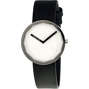 Issey Miyake Twelve 38mm Watch (White Dial; Leather Black Band; Silver Bezel;