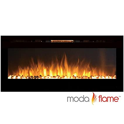 "Moda Flame 50"" Cynergy Pebbles Stone Built-in Wall Mounted Electric Fireplace"