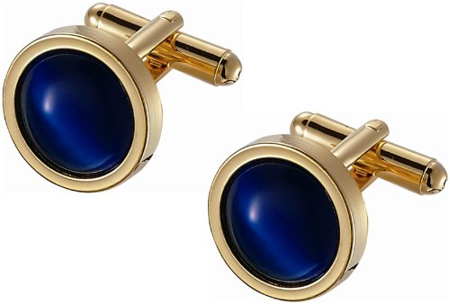 Round Royal Blue Catseye Cufflinks in Golden Frame