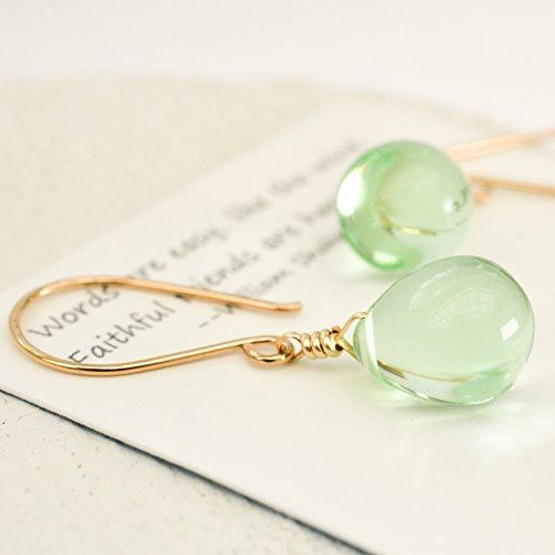 Pale green earrings glass drop14kt yellow gold-filled