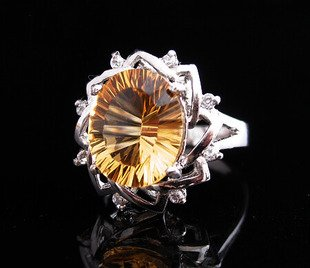 12*10mm New Citrine Natural Gem stone 925 sterling silver ring 053