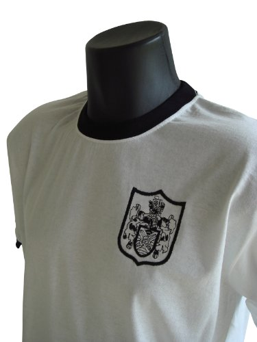 Old School Football Fulham Retro 1960s Football T-shirt Black Trim, Size- M