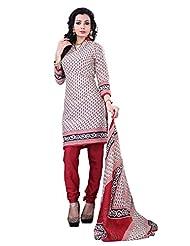 Surat Tex Cream Color Casual Wear Printed Cotton Un-Stitched Dress Material-E457DL120SR