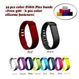 NIUTOP?Fashion Multicolor Set of 10pcs Large/Small Replacement Wristband Wrist Bands with Clasps for Fitbit Flex Only /No tracker/ Wireless Activity Bracelet Sport Wristband Fit Bit Flex Bracelet Sport Arm Band Armband(No tracker, Replacement Bands Only). (Small)