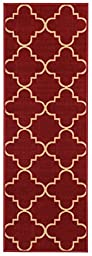 Anti-Bacterial Rubber Back RUGS RUNNERS Non-Skid/Slip 2x5 Runner Rug | Red Moroccan Trellis Indoor/Outdoor Thin Low Profile Modern Home Floor Bathroom Kitchen Hallways Colorful Decorative Rug