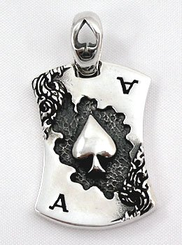 Ace Spade Sterling Silver Men's Dog Tag Pendant Halloween Rock (Men Pendant Ace compare prices)