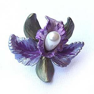 Platinum-Plated Swarovski Crystal Enamel Orchid Pin/Brooch (1 inch x 1 inch) (Gift Boxed)