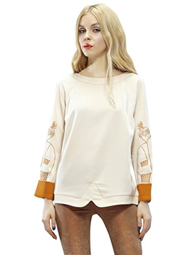 Elf Sack Womens Autumn T-Shirt Long Sleeve Candy Color Retro Embroidery Large Size Beige