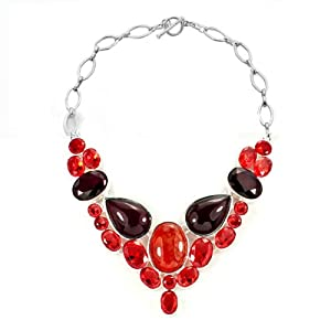 Pugster Chunky Bubble Light Red Brown Bib Statement Water Drop Necklace Fashion Jewelry For Women