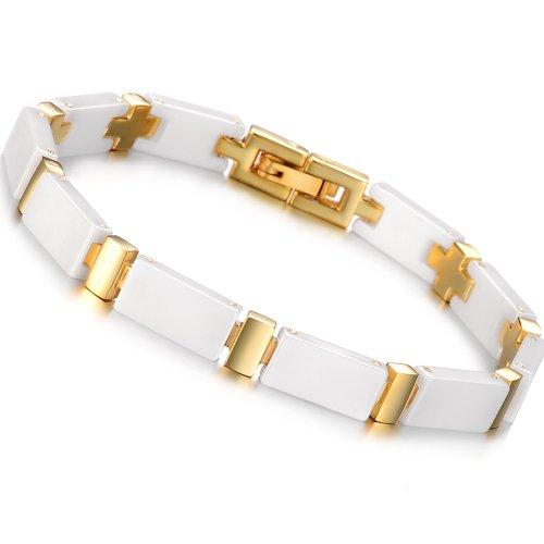 OPK South Korea Style Rose Gold Plated Titanium Stainless Steel Ceramics Bracelet Bangle Best Gift!