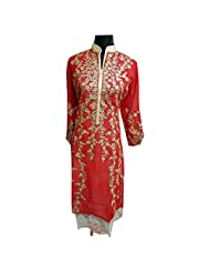 Bold Red Georgette Designer Party Wear Semi Stitched Kurti