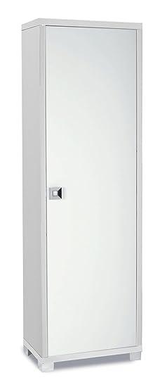 Armadietto porta abiti a un'anta in bianco fiammato con finiture frontali in bianco lucido