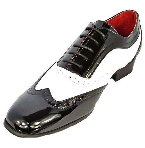 hommes-garcons-borsalino-lacet-rossellini-habille-decontracte-chaussures-mariage-noir-et-blanc-43