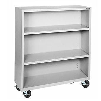 """Sandusky Lee BM20361842-05 Dove Gray Steel Mobile Bookcase, 2 Adjustable Shelves, 200 lb. Per Shelf Capacity, 48"""" Height x 36"""" Width x 18"""" Depth, 3 Shelves"""