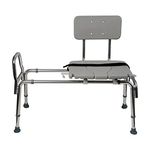 Duro-Med Heavy-Duty Sliding Transfer Bench Shower Chair with Cut-out Seat and Adjustable Legs, Gray (Handicap Tub Seat compare prices)
