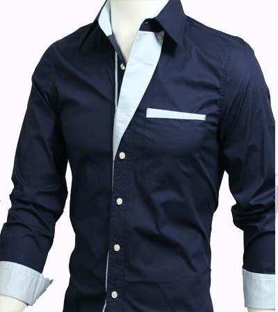 GL Fashions Men's Casual Long Sleeve Dress Shirt - Navy Blue - S