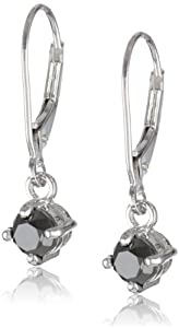 14k White Gold Black Diamond Dangle Earrings (1 cttw)
