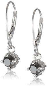14k White Gold Black Diamond Dangle Earrings (1 cttw)