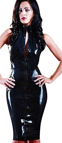tres-sexy-faux-pvc-court-manches-robe-taille-36