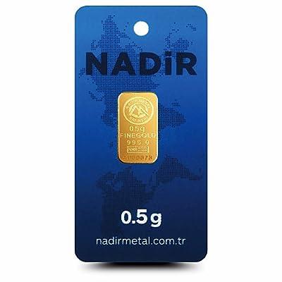 Nadir Goldbarren 0,5 Gramm, 0,50g Gold, Goldbarren 0,5g, LBMA Zertifiziert Mit Hologramm