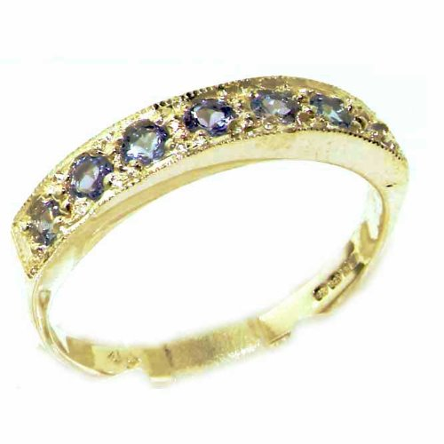 Solid 14ct Yellow Gold Ladies Natural Tanzanite Eternity Band Ring - Size L - Finger Sizes K to Y Available - Perfect Gift for Birthday, Christmas, Valentines Day, Mothers Day, Mom, Mother, Grandmother, Daughter, Graduation, Bridesmaid.