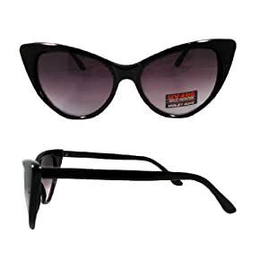 80s Retro Vintage Cat Eye Women Sunglasses Desinger Inspired - Black