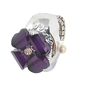 Ladies Purple Flower Cover Round Dial Elastic Band Finger Ring Watch