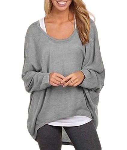 Exlura Women's Loose Blouse Long Batwing Sleeve T-shirt Oversized Top - XL Gray (Big Sleeve Shirts For Women compare prices)