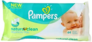 Pampers Natural Clean Baby Wipes - Pack of 12(12x 64 Wipes= Total 768 wipes)