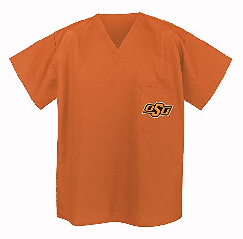 Osu Oklahoma State Scrubs Top Shirt-Orange Size Lg- Osu Cowboys Men Ladies front-1073291