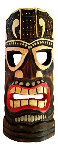 Colorful Painted Wooden Tiki Mask Wall Decor, 12