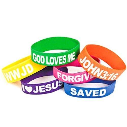 Wholesale Rubber Religious Big Band Bracelets God Loves Me, I Love Jesus, Saved, Forgiven, John 3:16 and WWJD (12 Pack) - 1