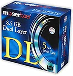 MoserBaer Dual Double Layer 8.5GB DVD - 5 Disc Box Pack