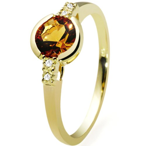 9Ct Yellow Gold Ring With 1 Yellow Quartz And 4 Diamonds 0.02 Carat By Goldmaid - Size L 1/2
