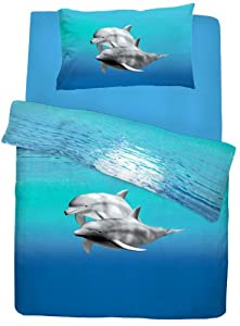 Single Bed Dolphin Duvet / Quilt Cover Quality Bedding Set Blue Sea Animal Printed