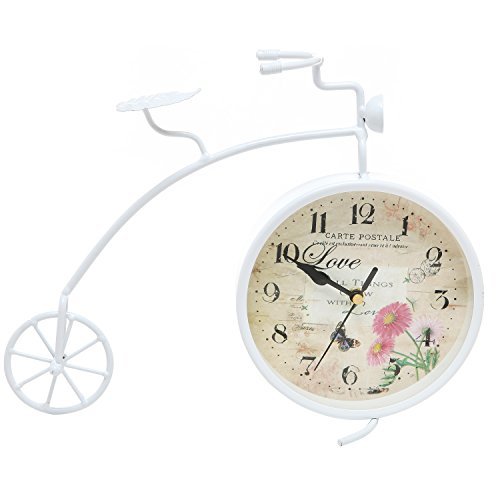 MyGift® Home Decor Vintage Style White Bicycle Metal Freestanding Desktop / Mantel Shelf Clock