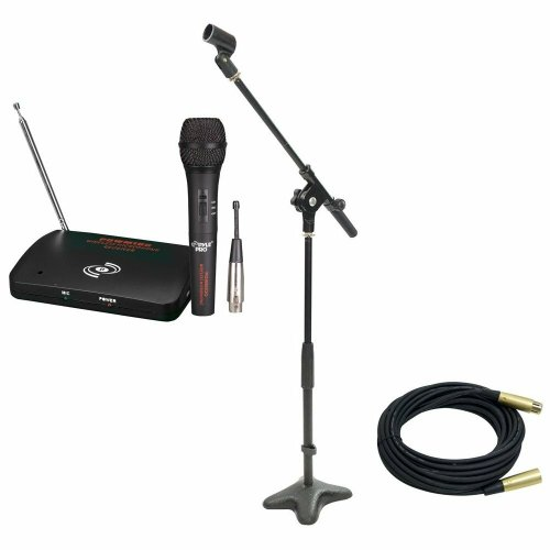 Pyle Mic And Stand Package - Pdwm100 Dual Function Wireless/Wired Microphone System - Pmks7 Compact Base Microphone Stand - Ppmcl30 30Ft. Symmetric Microphone Cable Xlr Female To Xlr Male