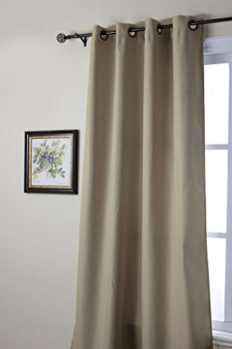 "H.Versailtex Innovated Heavy Weight Textured Linen Quality Blackout Thermal Insulated Window Curtains,Antique Metal Grommet,96""L by 84""W(1 Panel)-Light Tauple(Two Tone Pattern)"