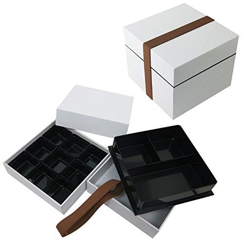 重箱 ゴムバンド付き 弁当 山中 漆器 三段 タッパ 仕切り付 ホワイト おしゃれ LUNCH BOX ピクニック