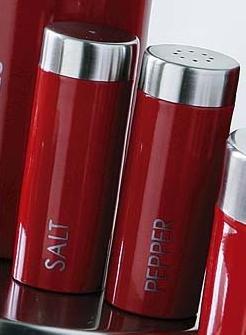 Retro Red Enamel Kitchen Salt & Pepper Set Stainless