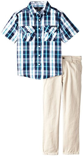 U.S. Polo Assn. Big Boys' Short Sleeve Sport Shirt And Twill Pant Set, Classic Navy, 12