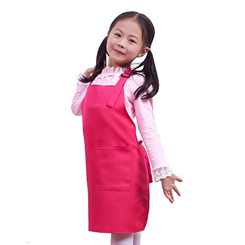 Fantastic_008 Children's Aprons Baby Girl Boy Aprons Kitchen Garden Aprons For Painting Cleaning (Rose red)