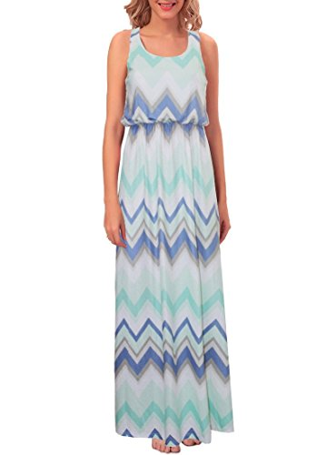 Cacuu Women's Chevron Maxi Boho Summer Long Skirt Evening Party Dress (XX-Large, Green)
