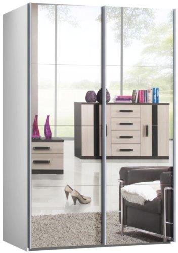 Schwebetrenschrank-Schiebetrenschrank-ca-150-cm-Weiss-mit-Spiegel-Kleiderschrank